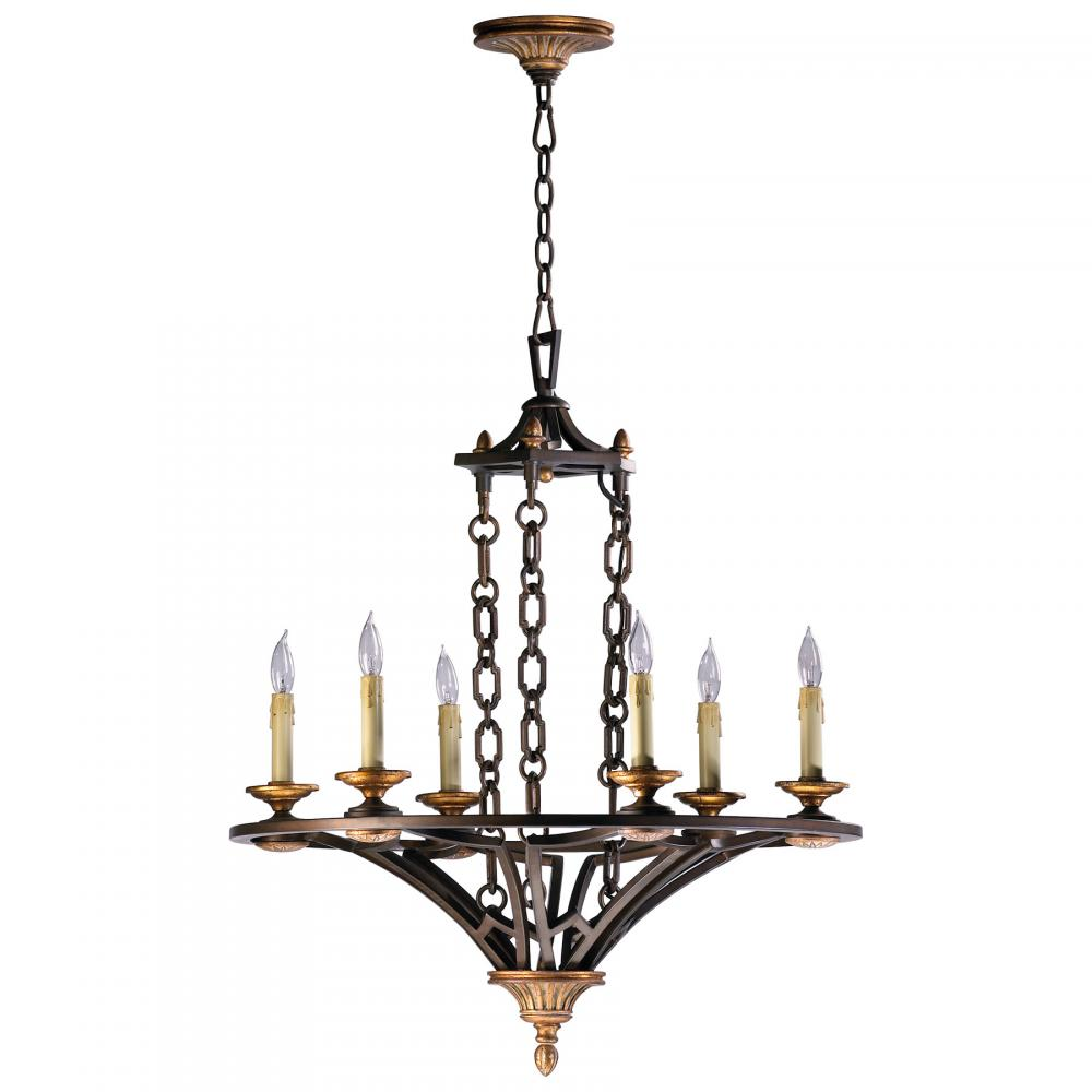 CYAN 04648 Six Light Oiled Bronze Chandelier 6X60C