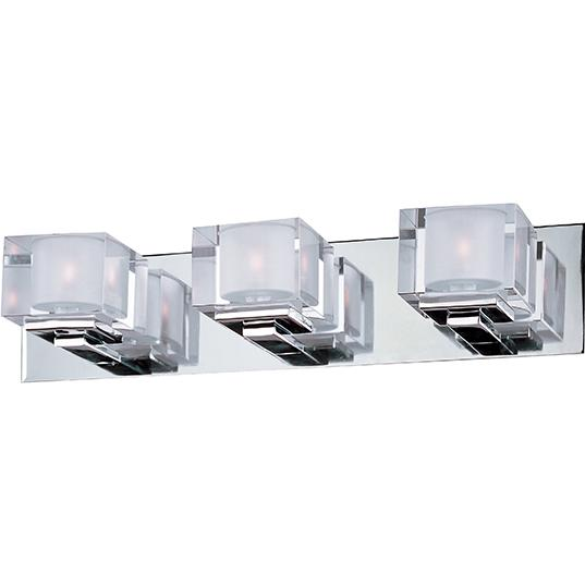 MAX 10003CLPC Three Light Polished Chrome Clear Glass Vanity