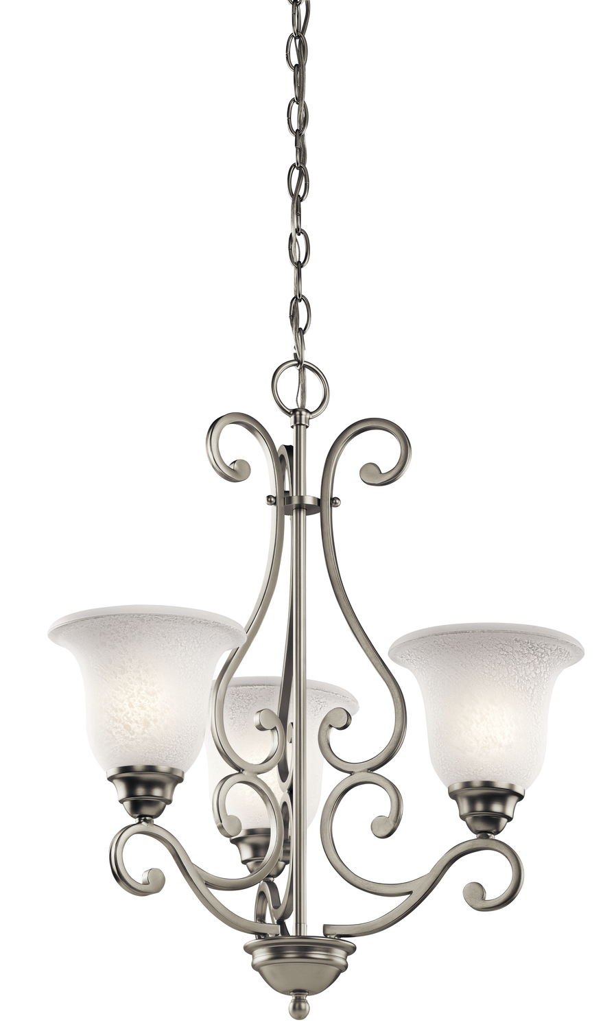 KIC 43223NI Three Light Brushed Nickel Chandelier 3X100M