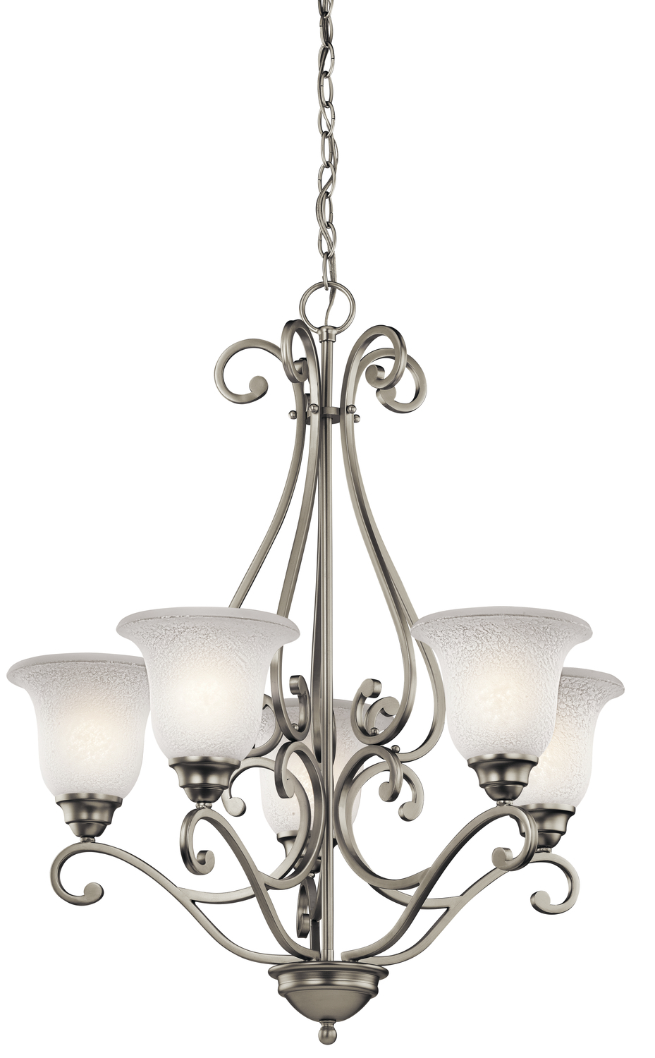 KIC 43224NI Five Light Brushed Nickel Chandelier 5X100M