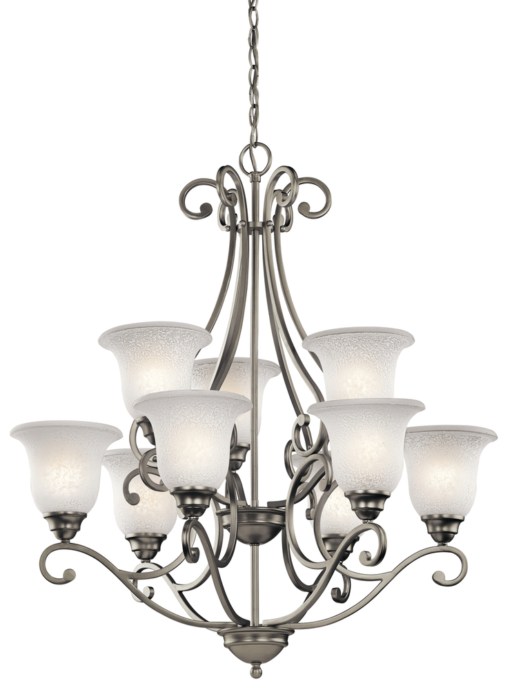 KIC 43226NI Nine Light Brushed Nickel Chandelier 9X100M
