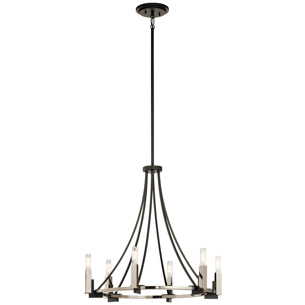 "KIC 43290BK Bensimone 6Lt Black Chandelier 24""W x 23.5""H 60W Candelabra lamp not included"
