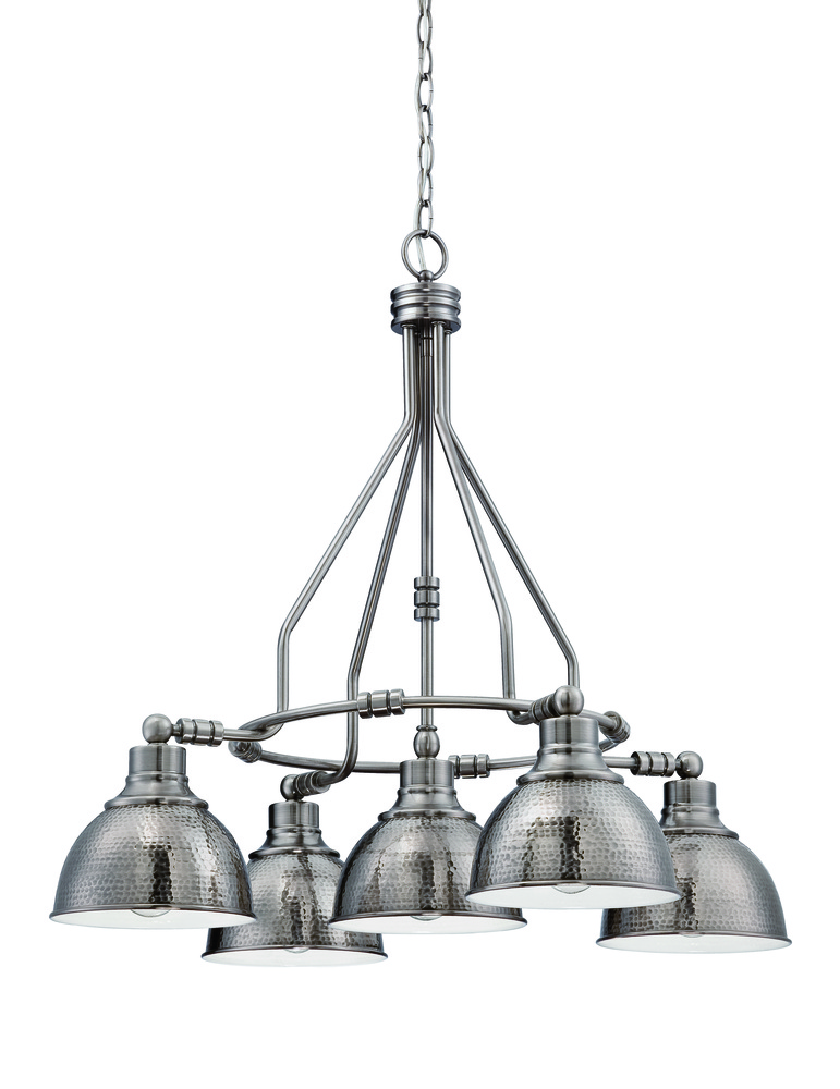 CFT 35925-AN Timarron 5 Light Down Chandelier in Antique Nickel 5X100Medium