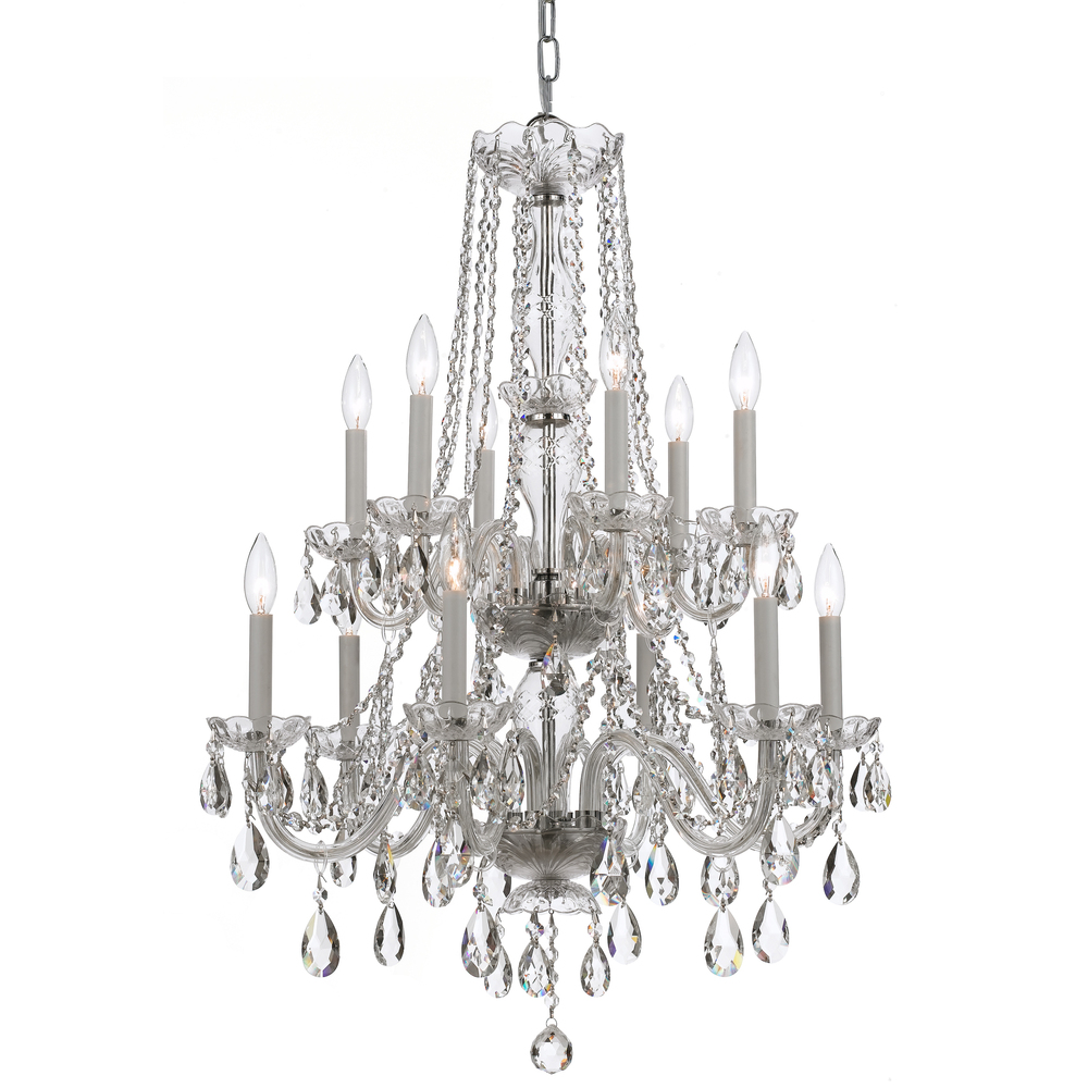 CYS 1137-CH-CL-MWP Traditional Crystal 12 Light Clear Crystal Chrome Chandelier 12X40Candelabra