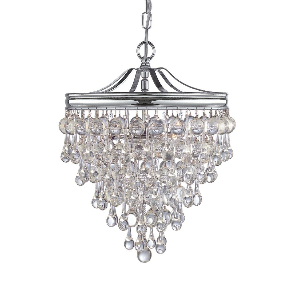 CYS 130-CH 3X60C Calypso Polished Chrome Pendant Transitional Mini Chandelier Draped In Clear Glass Drops