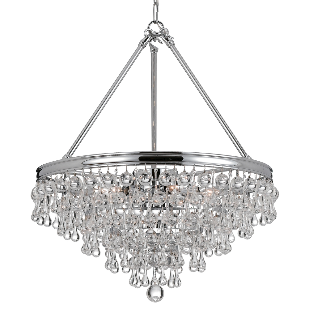 "CYS 136-CH Calypso 6Lt Crystal Teardrop Polished Chrome Chandelier 24.00""W x 20.00""H Candelabra lamp not included"
