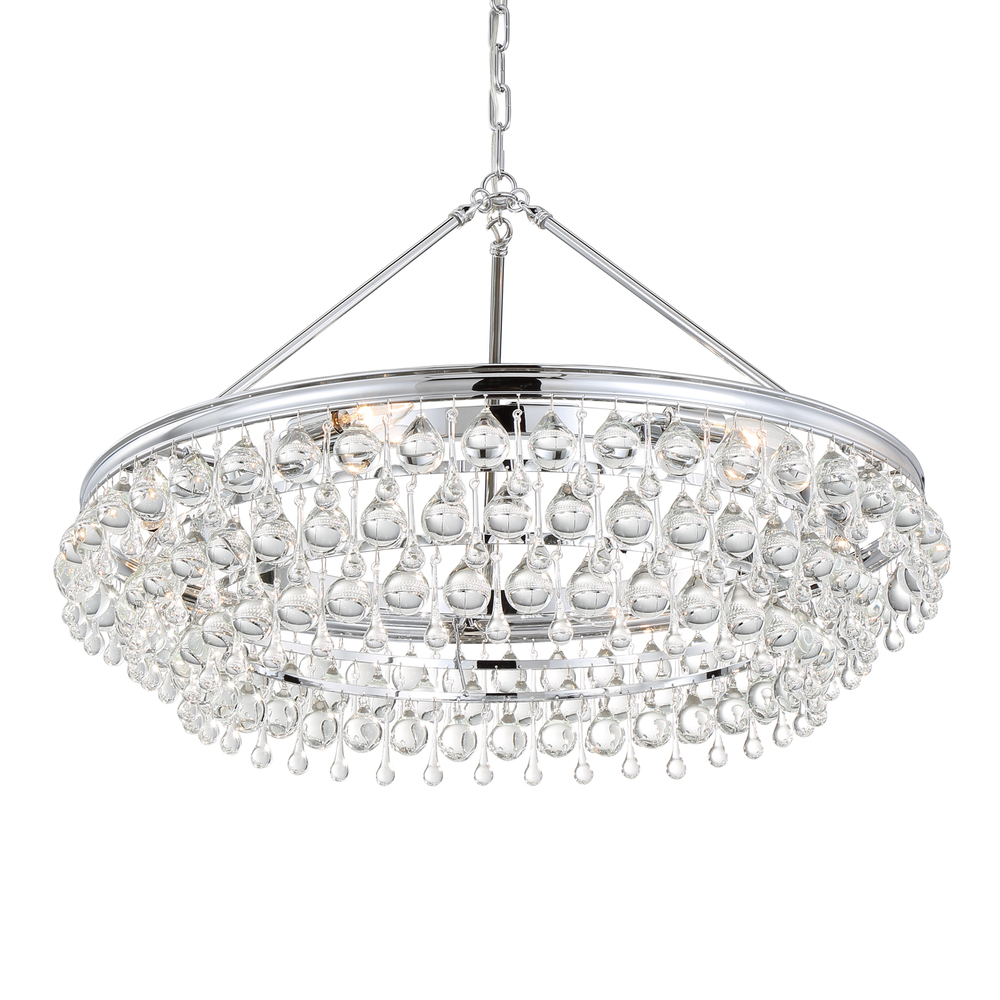 "CYS 275-CH Calypso 6Lt Crystal Teardrop Chrome Chandelier 30.00""W x 20.00""H Candelabra lamps not included NEWSTOCK NOV 2018"