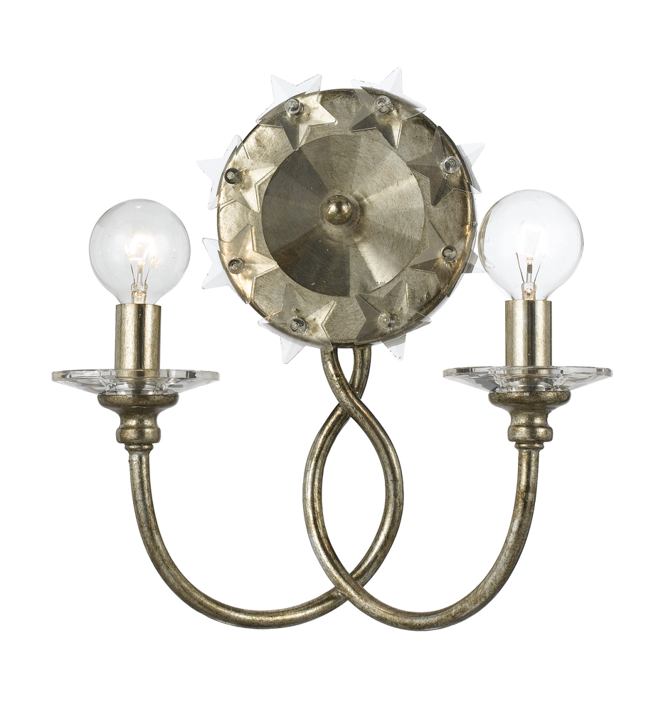CYS 442-SA Two Light Antique Silver Wall Light 2X60C