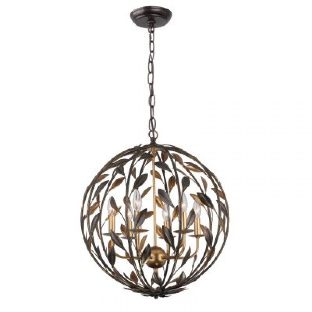 "CYS 506-EB-GA Broche 6Lt English Bronze & Antique Gold Sphere Chandelier 21""W x 24.5""H 60W Candelabra lamp not included"