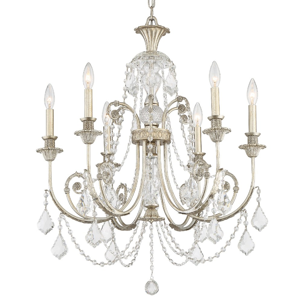 Regis 6 Light Clear Crystal Silver Chandelier