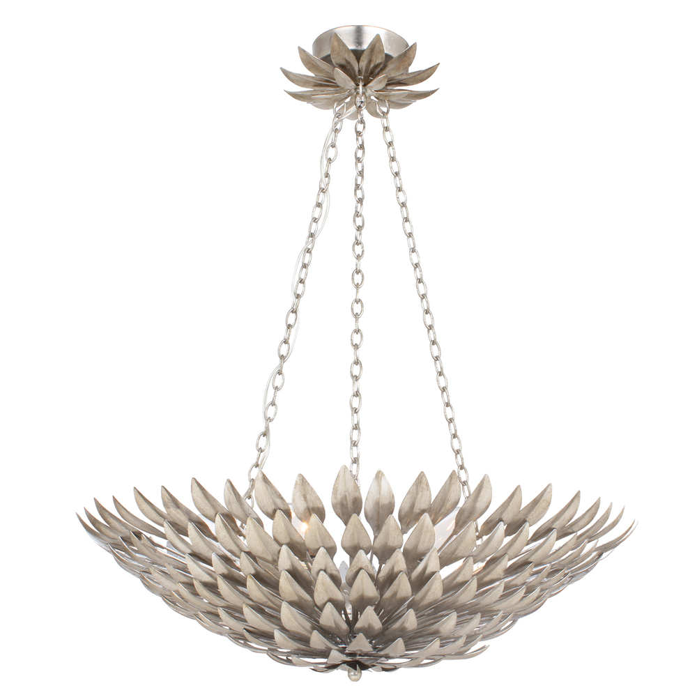 """CYS 517-SA Broche 6Lt Antique Silver Pendant Chandelier 24.5""""W x 11""""H 60W Candelabra lamp not included NEWSTOCK JAN 2020"""