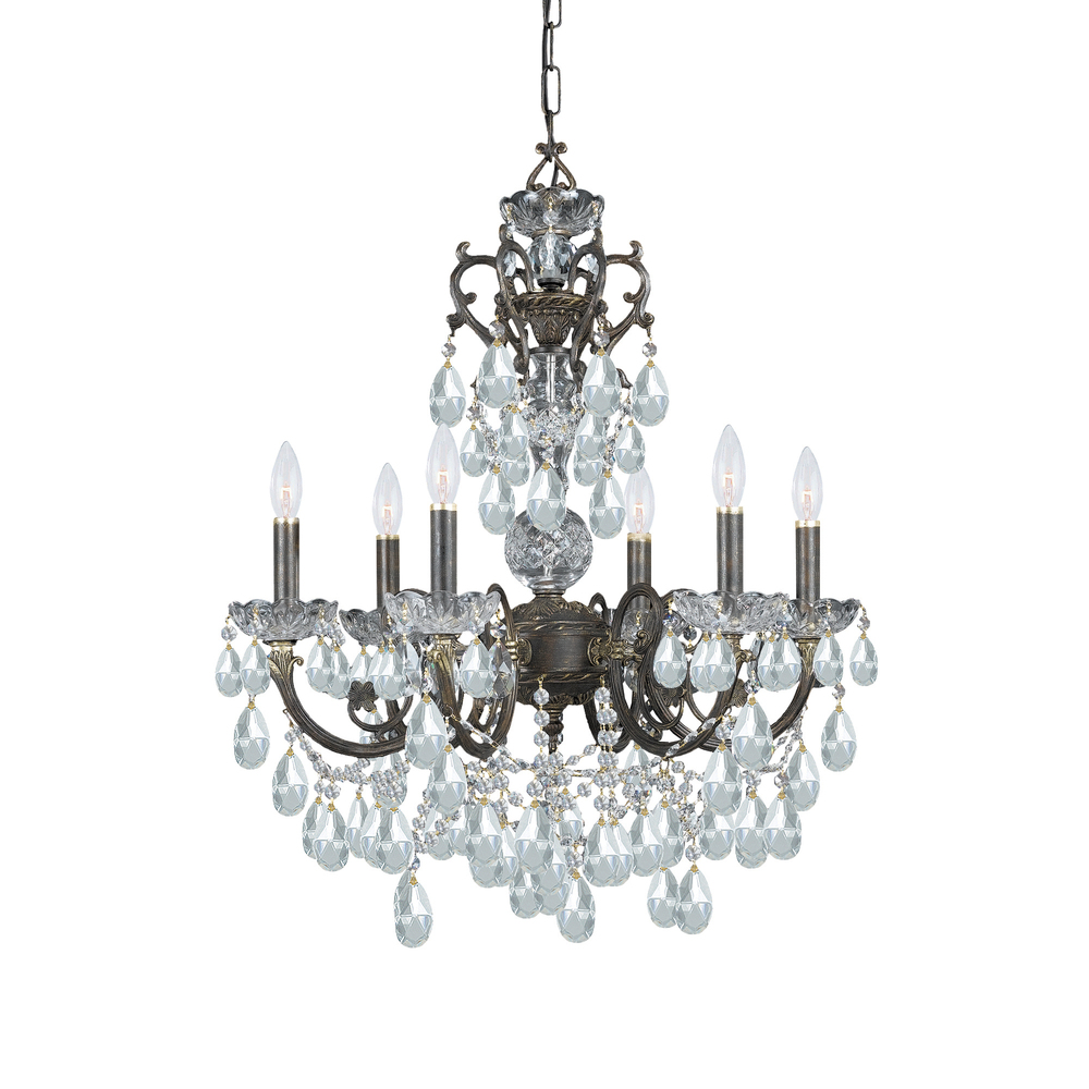 "CYS 5196-EB-CL-MWP Legacy 6Lt English Bronze Chandelier 23""W x 28""H 60W Candelabra lamp not included"