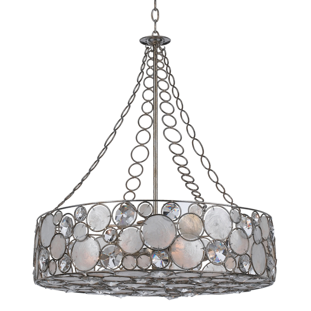 CYS 528-SA Eight Light Antique Sliver Drum Shade Chandelier 8X60C