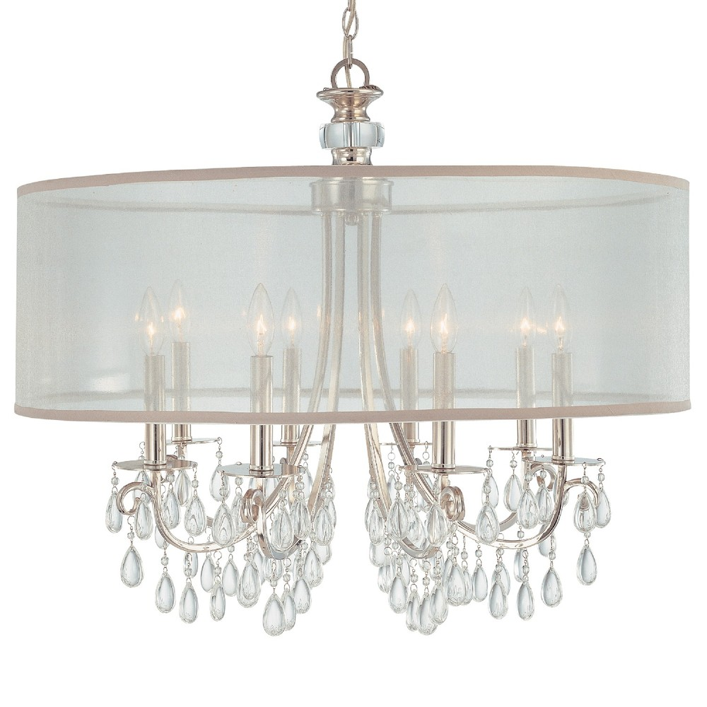 "CYS 5628-CH Hampton 8Lt Drum Shade Chrome Chandelier 32""W x 26""H 60W Candelabra lamp not included"