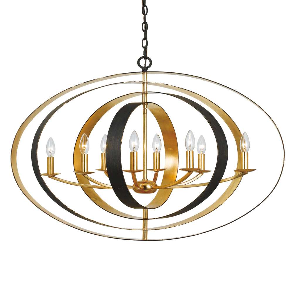 "CYS 588-EB-GA Luna 8Lt Bronze & Gold Oval Chandelier 36""W x 26""H x 29""D 60W Candelabra lamp not included"