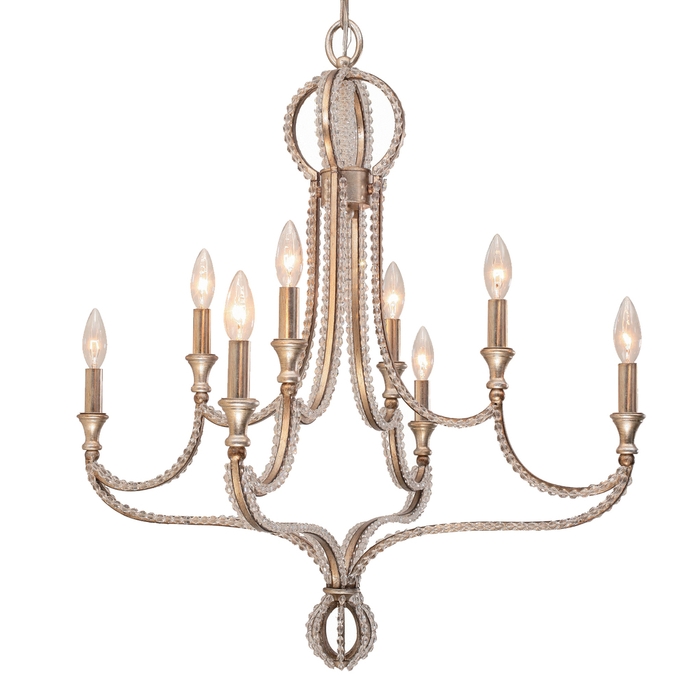 CYS 6768-DT 8 Light Distressed Twilight Eclectic Chandelier Draped In Hand Cut Crystal Beads 2X60Candelabra