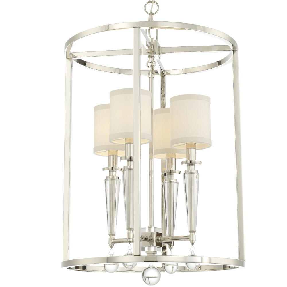 4 Light Polished Nickel Modern Chandelier