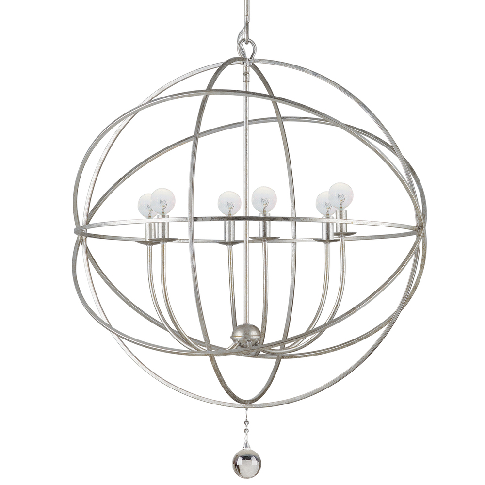 Solaris 6 Light Silver Sphere Chandelier