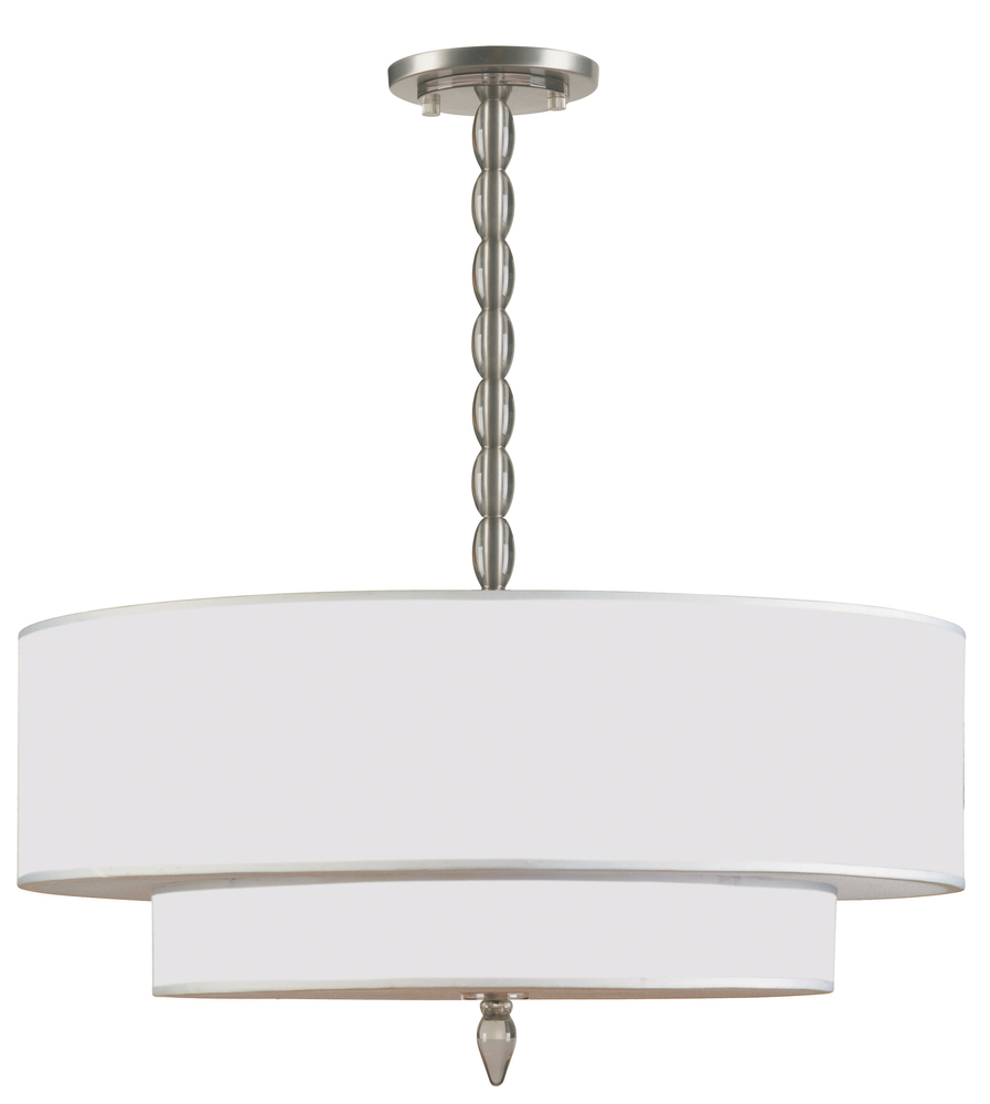CYS 9507-SN Luxo 5 Light Drum Shade Nickel Chandelier 1X60Candelabra