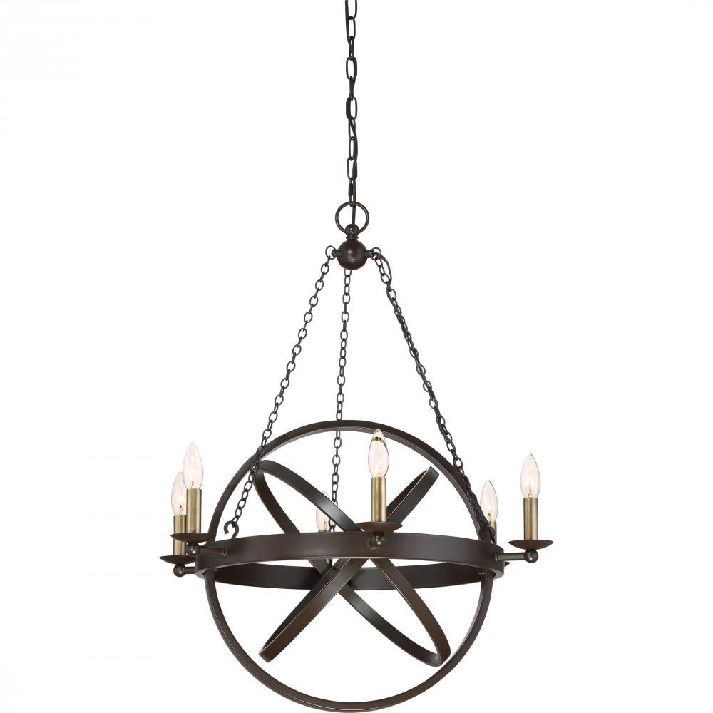 "QUO EON5006WT Eons 6Lt Western Bronze Chandelier 32.00"" H x 26.00"" W x 26.00"" D 60W Candelabra lamp not included"