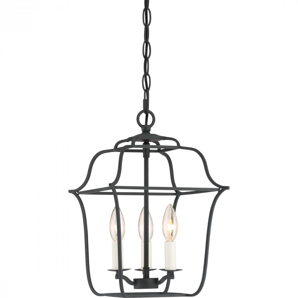 "QUO GLY5203BA Gallery 3Lt Royal Ebony Foyer/Chandelier 14.75"" H x 10.00"" W x 10.00"" D"