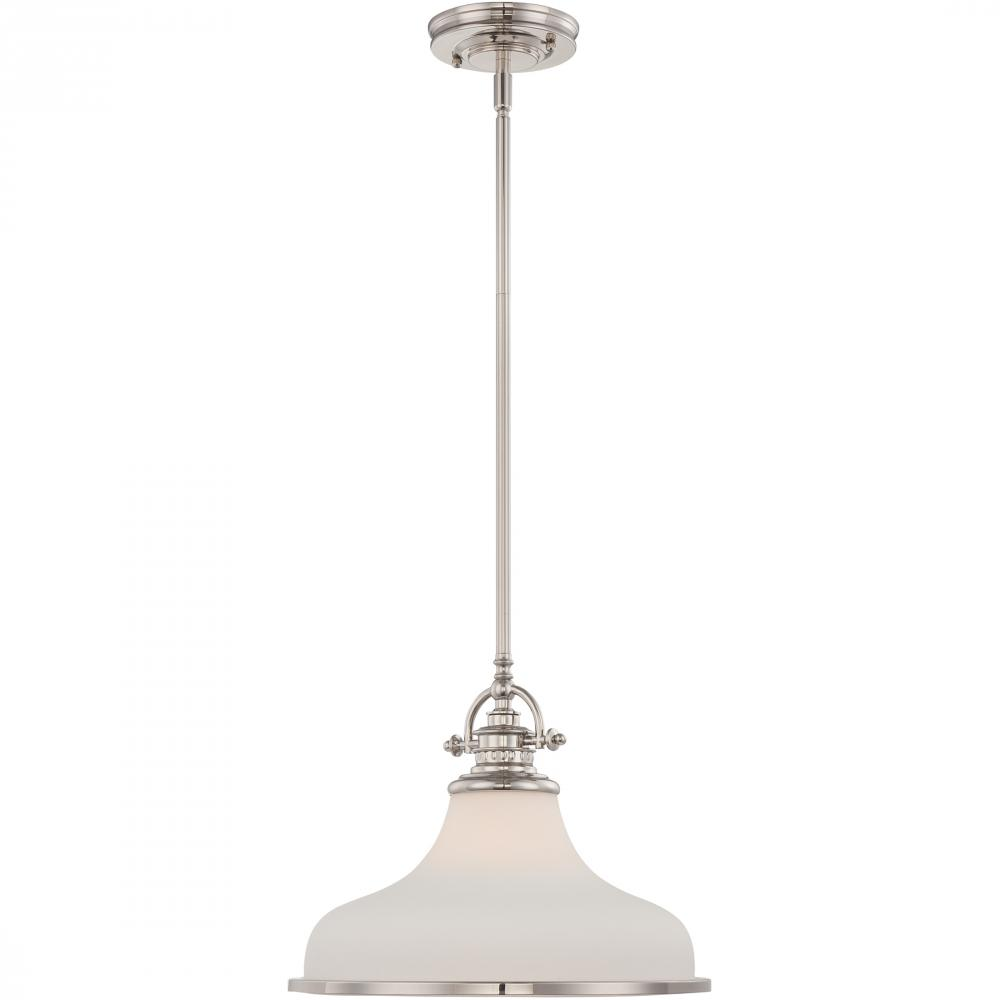 QUO GRT2814IS One Light Imperial Silver Opal Etched Glass Down Pendant