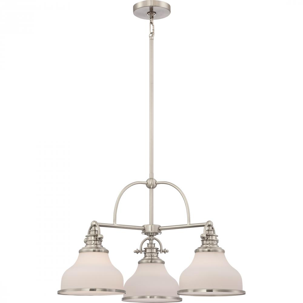 "QUO GRT5103BN Grant 3Lt Brushed Nickel Dinette Chandelier 15.50"" H x 24.00"" W x 24.00"" D 100W Medium lamp not included"