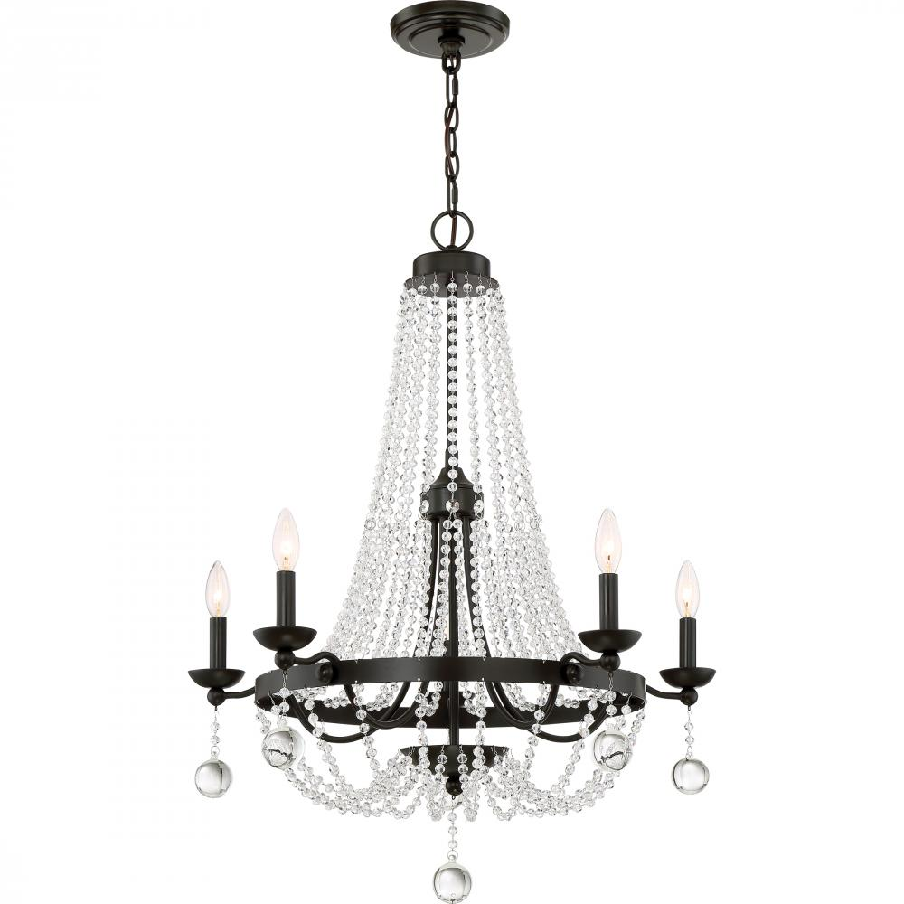 """QUO LVY5005WT Livery 5Lt Western Bronze Chandelier 34.00"""" H x 28.00"""" W x 28.00"""" D 60W Candelabra lamp not included"""