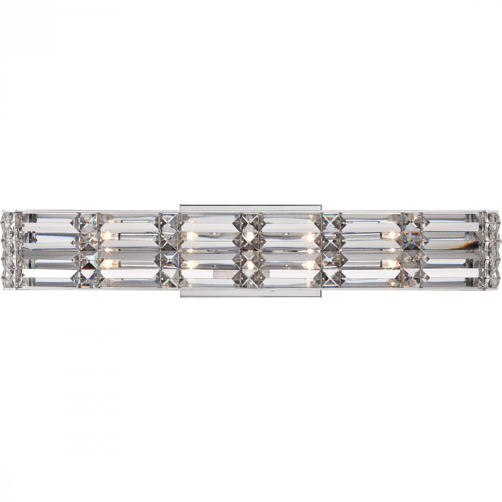 QUO RYE8605C Royale Bath Light fixture 5 light polished chrome 5X20W G4 CLEAR XENON