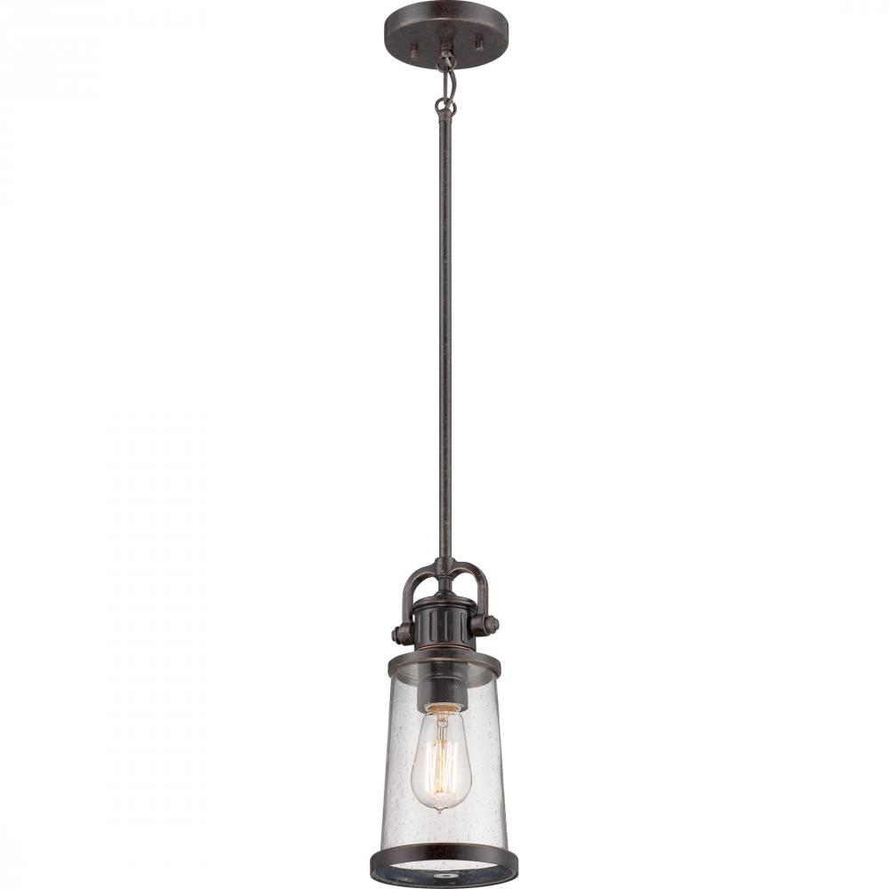 QUO SDN1506IB One Light Imperial Bronze Clear Seedy Glass Mini Pendant 1X100M