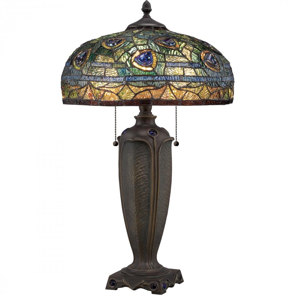 QUO TF1487T Two Light Tiffany Glass Table Lamp 2X75M