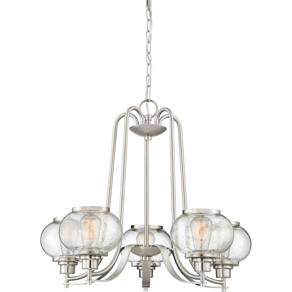 "QUO TRG5005BN Trilogy 5Lt Brushed NIckel Chandelier 21.69"" H x 26.00"" W x 26.00"" D 60W Vintage lamp included"