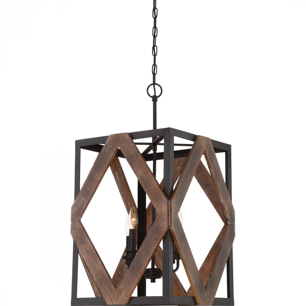 "QUO VRA5204WT Veranda 4Lt Western Bronze Chandelier 29.00"" H x 15.75"" W x 15.75"" D 60W Candelabra lamp not included"