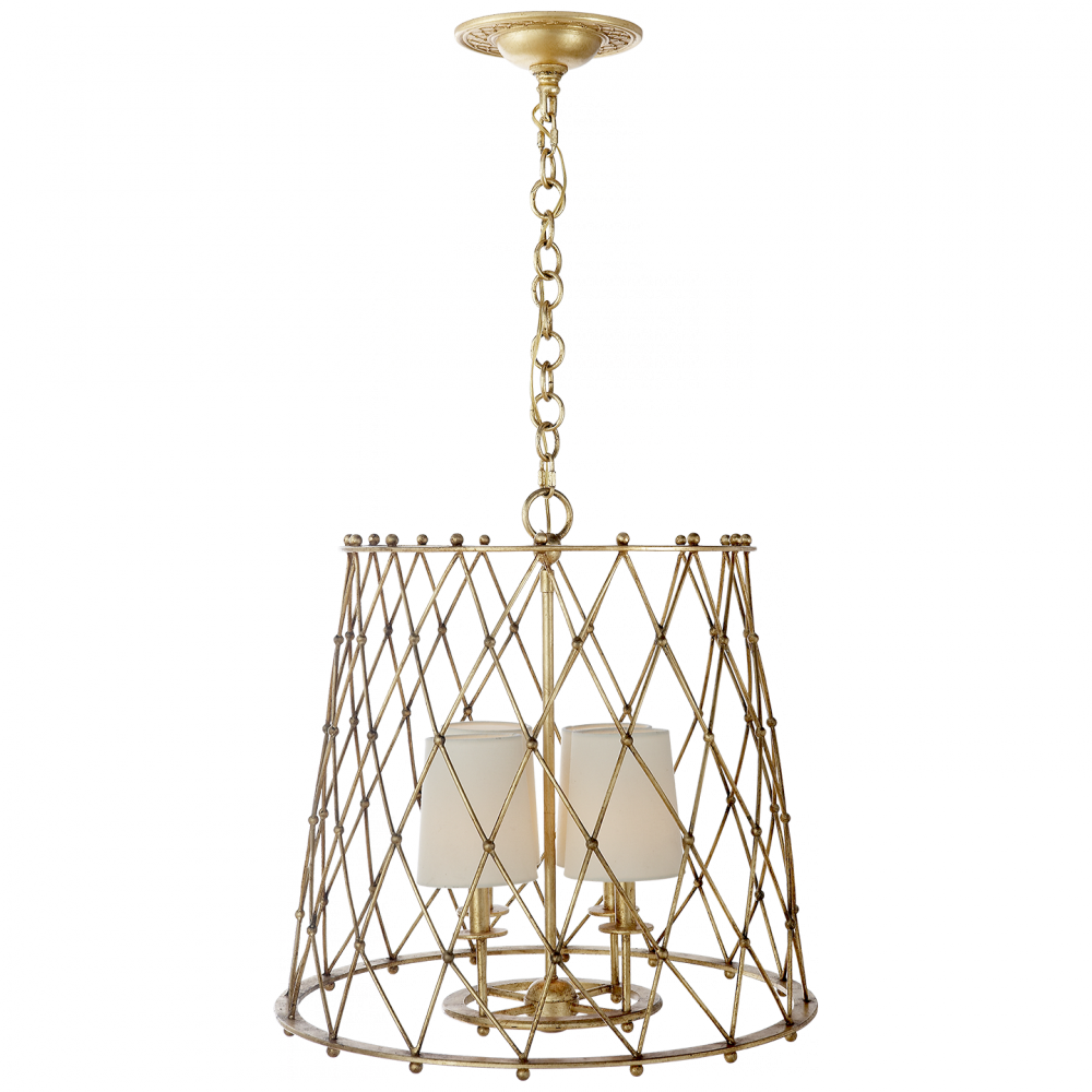 Edgerly Large Woven Lantern in Gilded with Linen