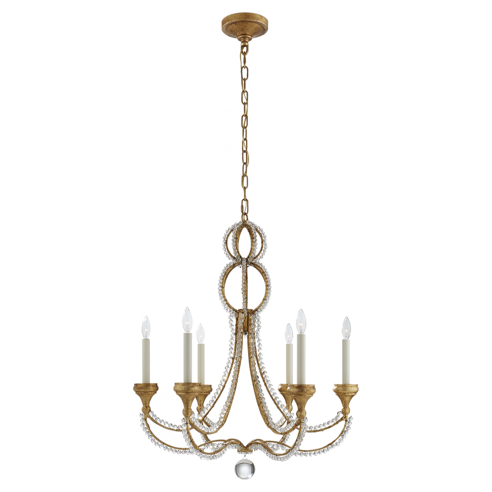 Milan Medium Chandelier in Venetian Gold with Cr