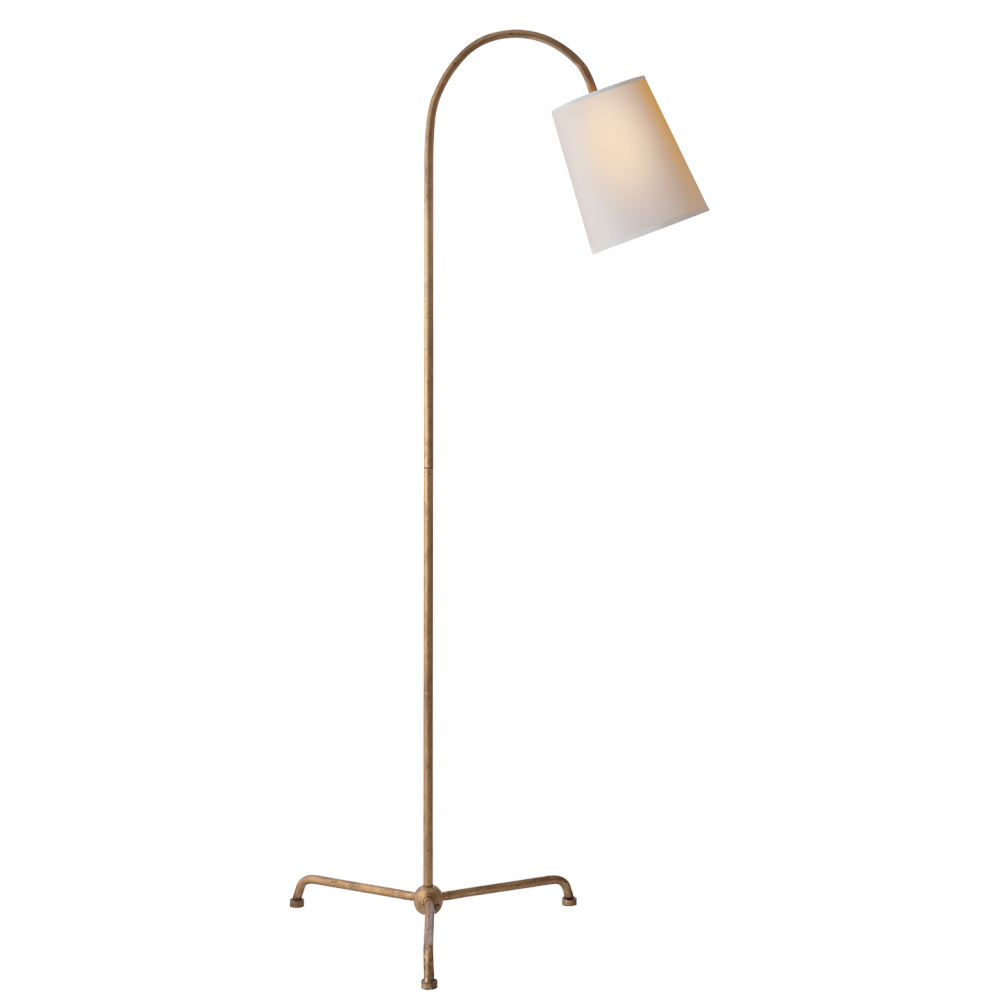 VCO TOB1021GI-NP Mia Floor Lamp in Gilded Iron with Natural Paper 1X