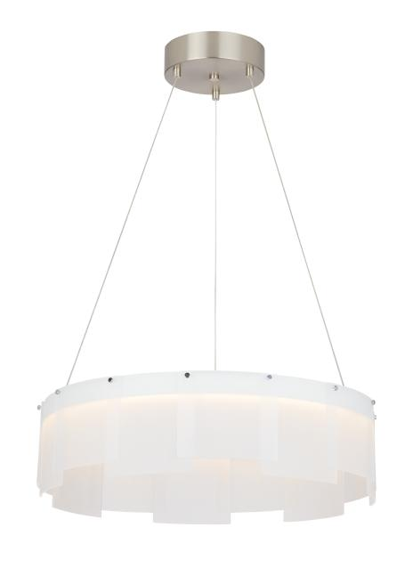"TEC 700STR30FS-LED927 Stratos 1Lt Satin Nickel LED Chandelier 30""D x 7""H lamp included"