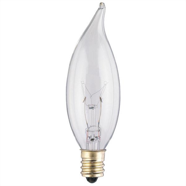 ABC 03674 25W CA8 FLAME TIP INCANDESCENT CLEAR LAMP E12 (CANDELABRA) BASE 130V CS=25/200