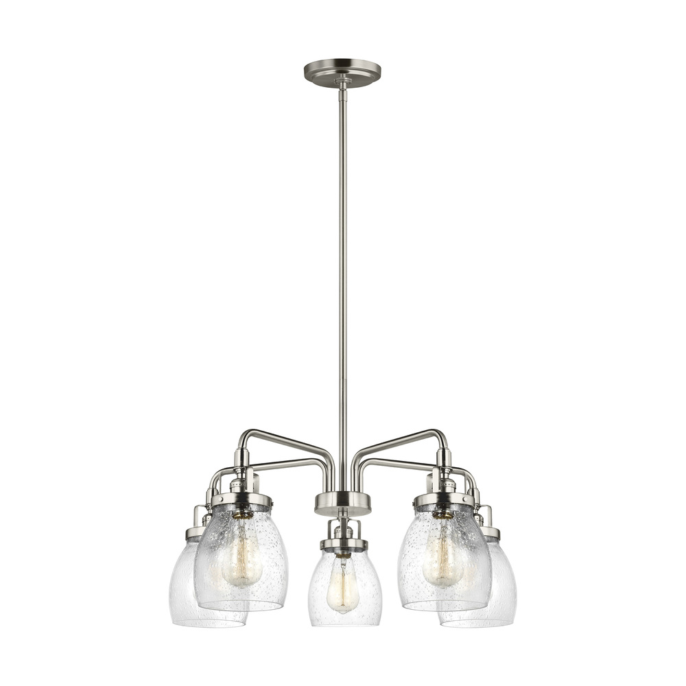"SEA 3114505-962 Belton 5Lt Brushed Nickel Chandelier 23 7/8""D x 10.54""H 60W Med A19 lamp not included"