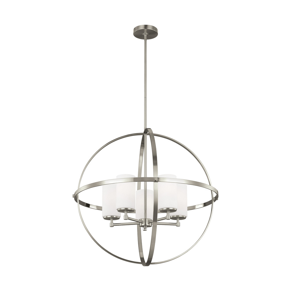 "SEA 3124605-962 Alturas 5Lt Bruished Nickel Chandelier 27.25""D x 27""H100W Med A19 lamp not included"