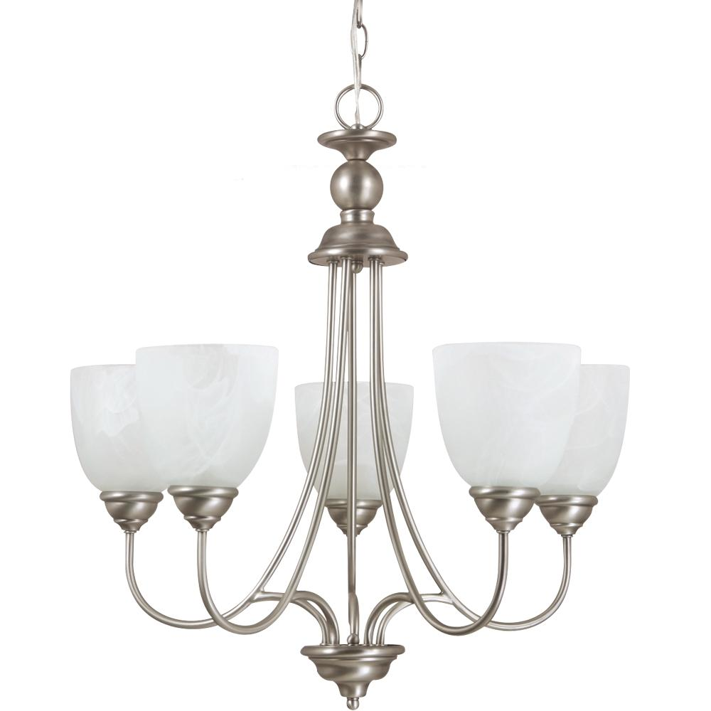 SEA 31317-965 Lemont Five Light Chandelier Antique Brushed Nickel with White Alabaster Glass 5X100M