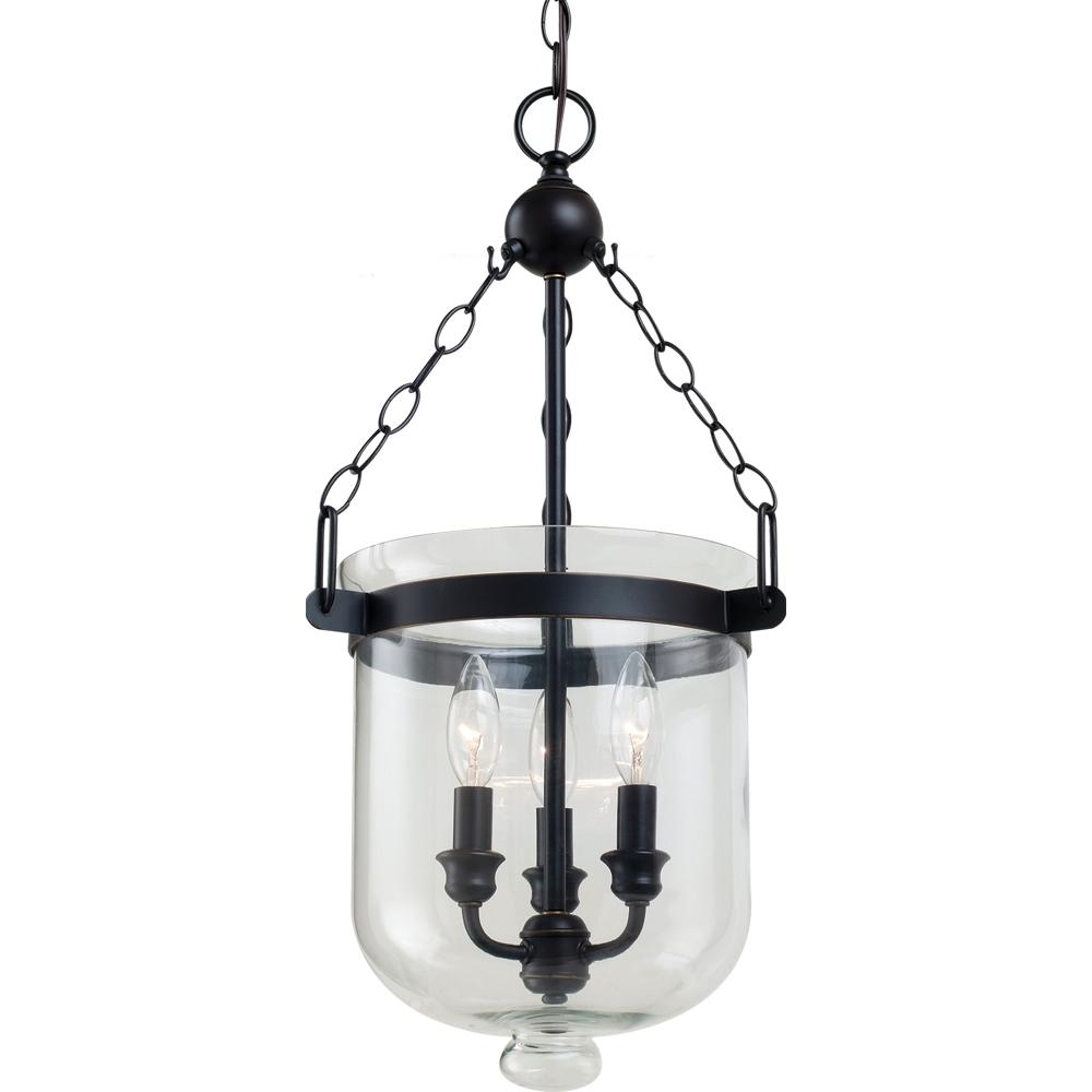 SEA 65046-715 Westminster Small Three Light Indoor Pendant Autumn Bronze Cloche Glass 3X60C