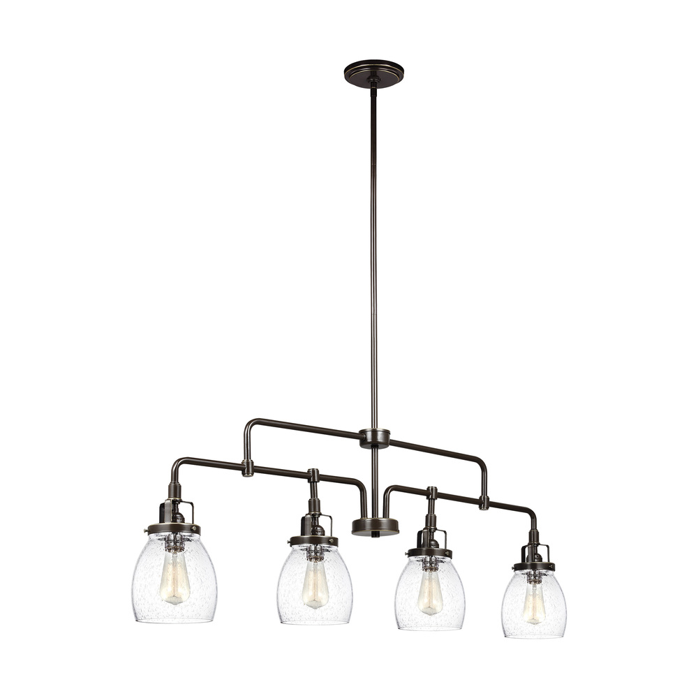 "SEA 6614504-782 Belton 4Lt Brushed Nickel Island Pendant 40.75""L x 5 3/8""W x 14 7/8""H 60W A19 lamp not included"