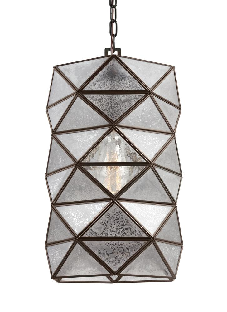 SEA 6641401-782 Harambee Large One Light Pendant in Heirloom Bronze with Mercury Glass