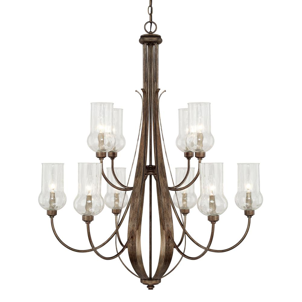 "CPL 411601RT-322 Rowan 10Lt Rustic Chandelier 34""W x 41""H 60W Candelabra lamp not included"