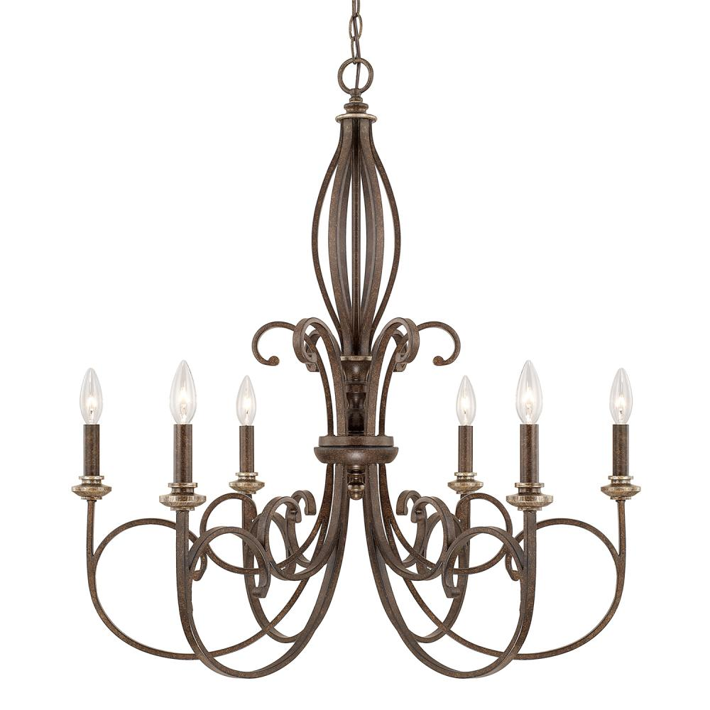"CPL 418761DS Kingsley 6Lt Dark Spice Chandelier 29.75""W x 32.25""H 60W Candelabra lamp not included"