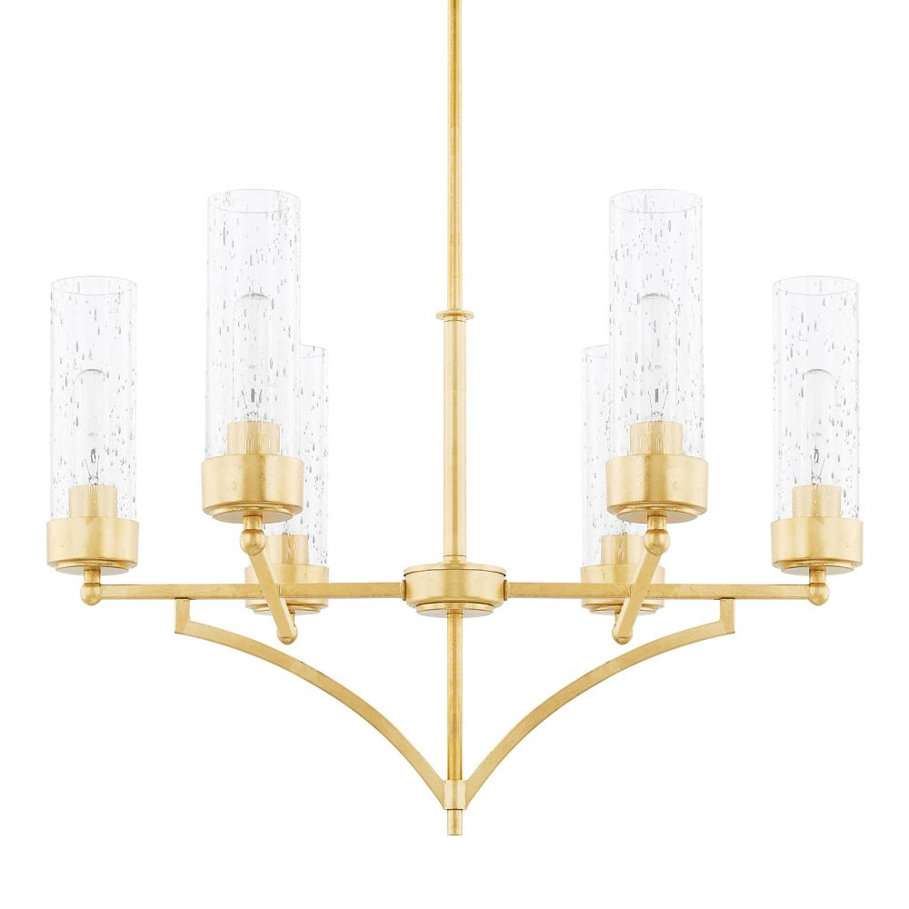 "CPL 419461CG-417 Regan 6Lt Capital Gold Chandelier 26""W x 67.25""H 60W Med lamp not included"