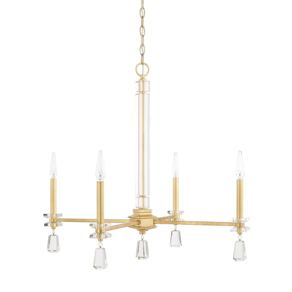 "CPL 419741CG Milan 4Lt Capital Gold Chandelier 28.5W x 26.5""H 60W Candelabra lamp not included"