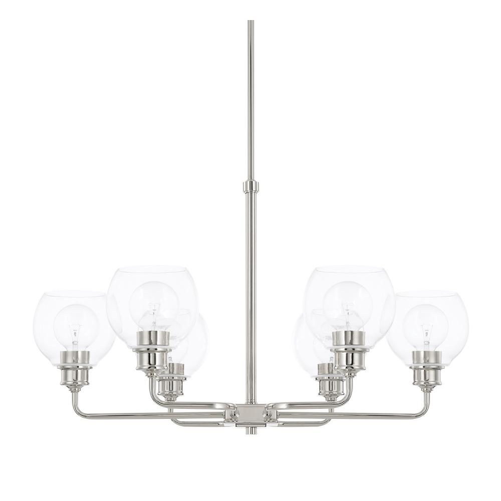 "CPL 421161PN-426 Mid-Century 6Lt Polished Nickel Chandelier 17.25""W x 65""H 100A/CL lamp not included"