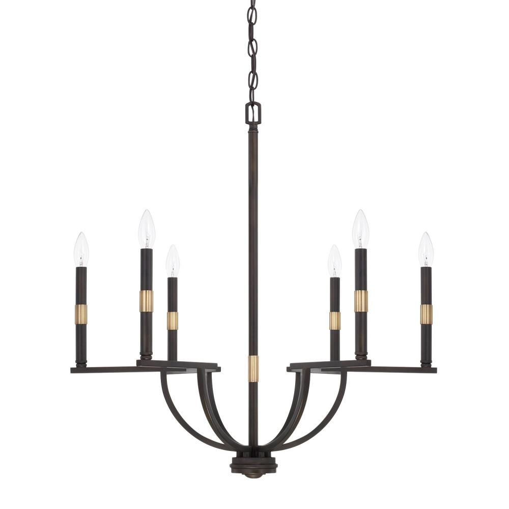 "CPL 421361AO Cole 6Lt Aged Brass & Old Bronze Chandelier 28.25""W x 29.50""H 60W Candelabra lamp not included"